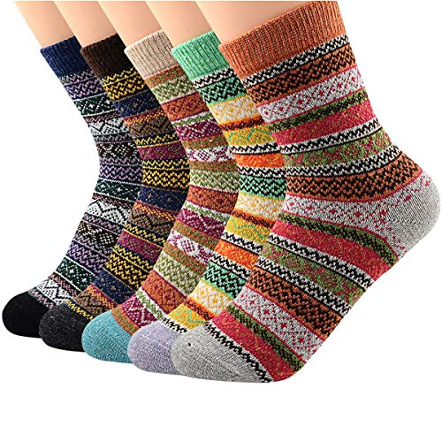 Womens 5 Pairs Vintage Winter Soft Warm Wool Crew Socks Thick Knit Cozy Athletic Sports Cashmere Retro Sock 5 Pack Stripes