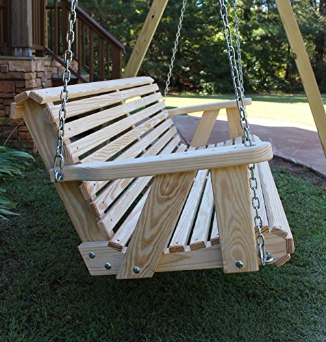 Pine Swing Stand - Ecommersify Inc ROLL BACK Amish Heavy Duty 800 Lb 4ft. Porch Swing- Made in USA