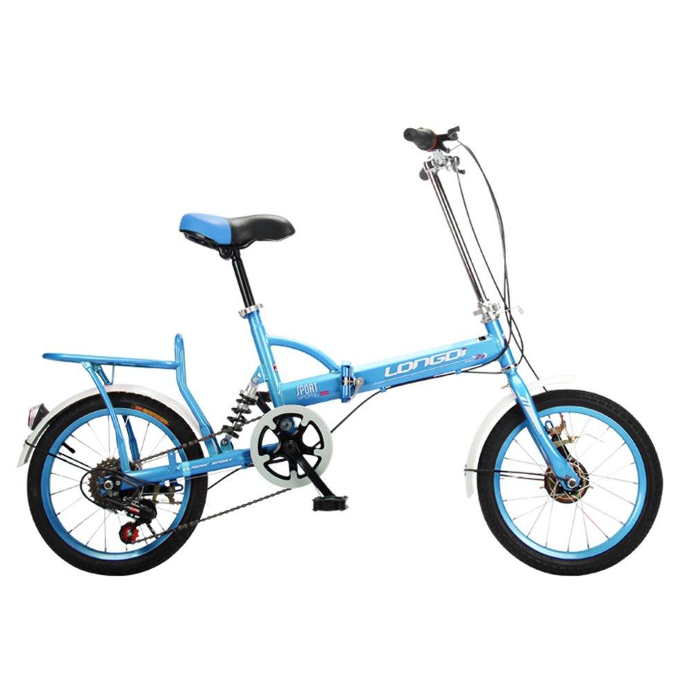 XQ Bicicleta Plegable 16 Pulgadas Adultos Bicicleta Plegable Velocidad 6-Variable Ultralight Mojadura Hombres Y Mujeres Estudiante Bicicleta para Niños ...