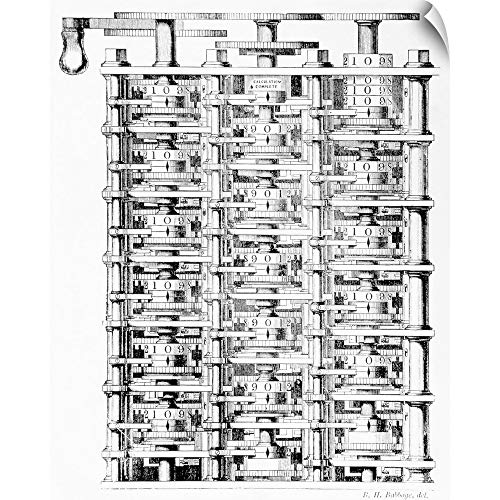 CANVAS ON DEMAND Engraving of Charles Babbage's Difference Engine Wall Peel Art Print, 38
