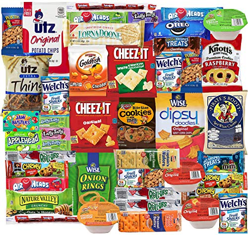 - Blue Ribbon Care Package 45 Count Ultimate Sampler Mixed Bars, Cookies, Chips, Candy Snacks Box for Office, Meetings, Schools,Friends & Family, Military,College, Halloween , Fun Variety Pack