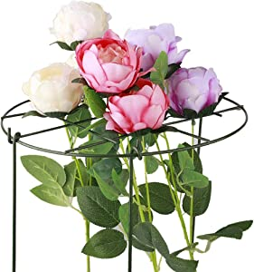 Keebgyy 1 Pack Grow Through Grid Plant Support, 17.7 x 12 in Brace Flower Support Rings Grow Through Hoops with 3 Legs, Circular Grow Through Grid for Peony Rose Vine Plants
