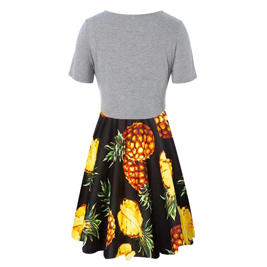 Fenverk Damen Kleiderset Zweiteilig Sommer Kurzarm Bluse Lose Patchwork Cut Out Tops T-Shirt Tunika Einfarbig Trachten-Kleid Dirndl