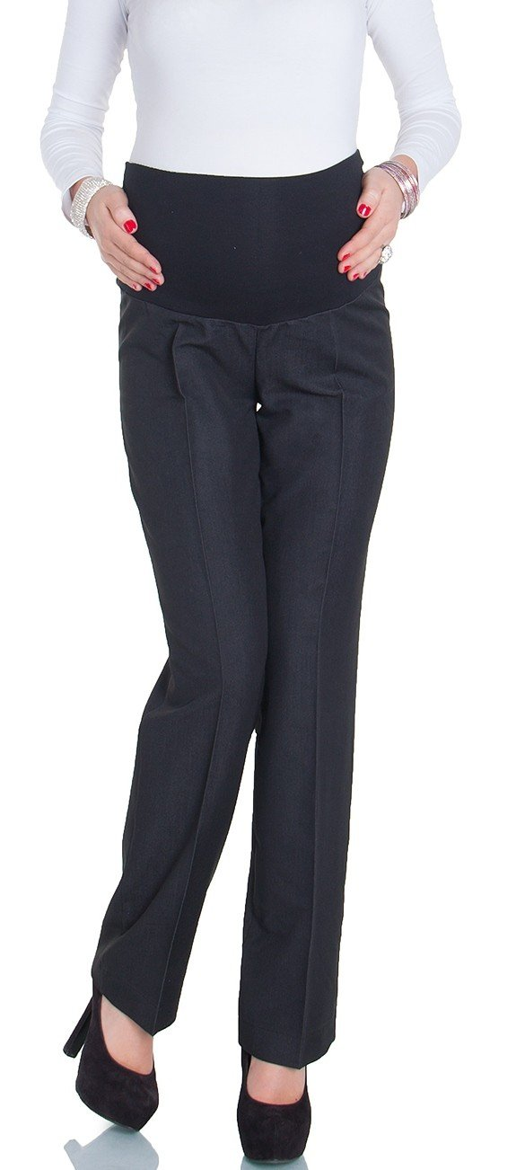 Happy Mama Women's Maternity Smart Tailored Work Office Over-bump Trousers. 246p (Anthracite Black, 10)