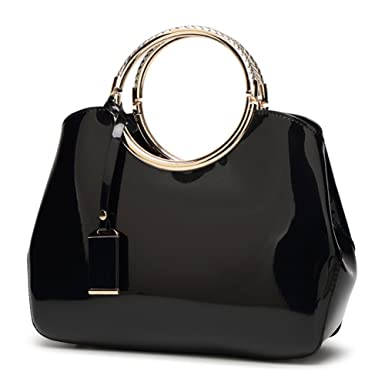 a7155ad89ae9 G-AVERIL 2018 NEW Womens Black Handbags Ladies Top Handle Bags Patent  Leather Stylish Tote