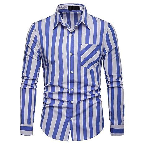 LILICAT✈✈ Manga Larga Slim Fit Modello Camisa de Franela de ...