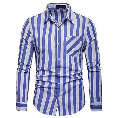 46efb106ad2d Amphia - Streifen Langarmhemd der MännerHerren Langarm Streifen Malerei  Große Größe Casual Top Bluse Shirts