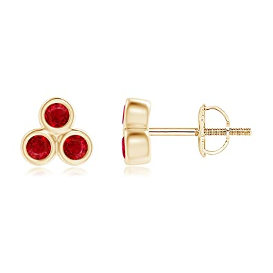 Angara Round Ruby Gemstone Stud Earrings in 14k Yellow Gold N8c96Y