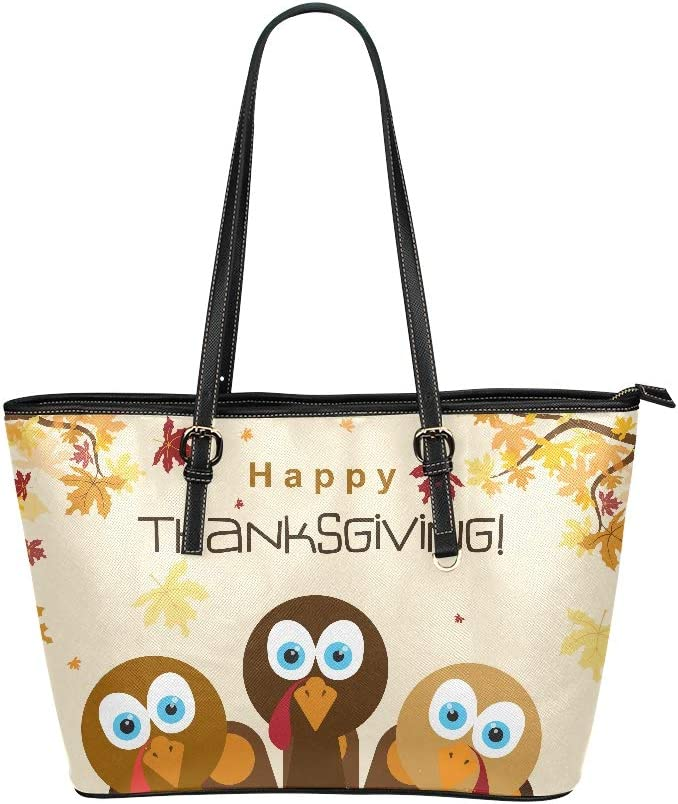 Thanksgiving Day Happy Turkey Large Soft Leather Portable Top Handle Hand Totes Bags Causal Handbags With Zipper Shoulder Shopping Purse Luggage Organizer For Lady Girls Womens Work