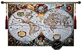 Beautiful World Map Antique III 65''x46'' Large Fine Tapestry Jacquard Woven Wall Hanging Art Decor