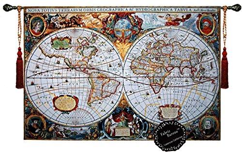 Beautiful World Map Antique III 65''x46'' Large Fine Tapestry Jacquard Woven Wall Hanging Art Decor by Fabric Bureau