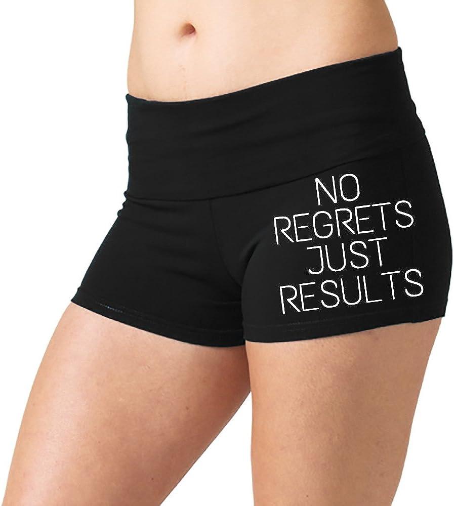 Womens No Regrets Just Results V104 Black Yoga Workout Booty Shorts Black