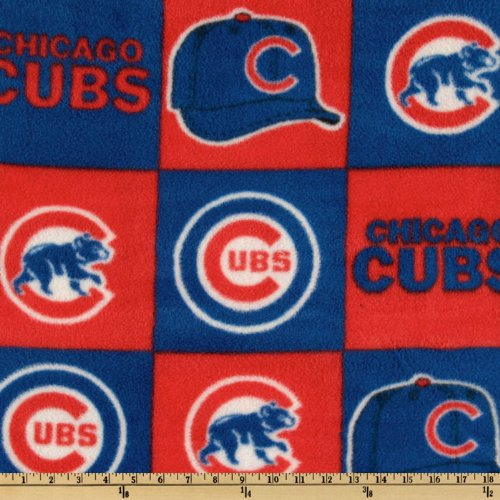 - Fabric Traditions CW-801 MLB Fleece Chicago Cubs Blocks Red/Royal Fabric by The Yard,