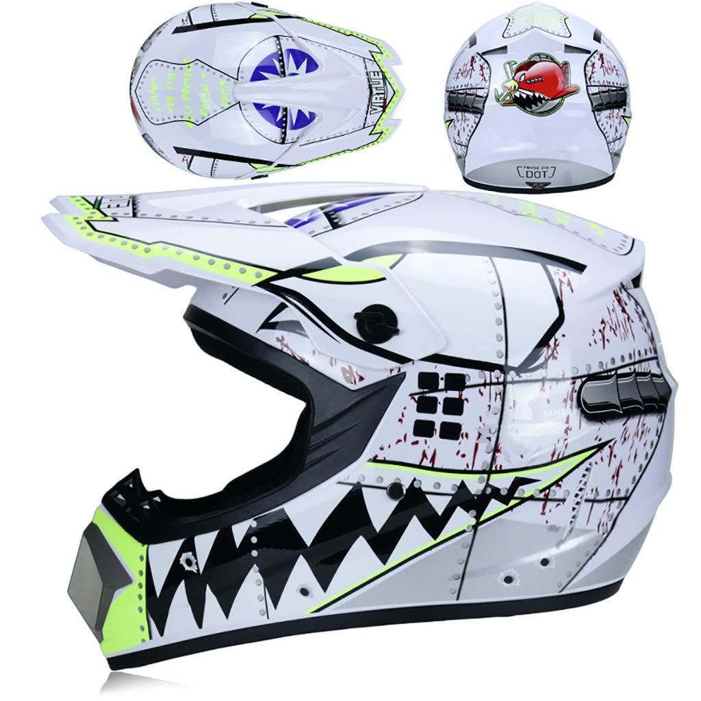Helmets Caschi da Corsa Casco da Motocross Set con Occhiali//Maschera//Guanti Unisex Adulto Casco Motocross per Bambini Cross(Size:53-59cm