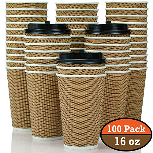 100-Pack 16 oz Disposable Coffee Cups with Lids - Fully Insulated Double Walled Paper Coffee Cups with Lids - to Go Coffee Cups Leak Proof - Microwaveable Hot Cups with Lids - to Go Cups FDA Approved