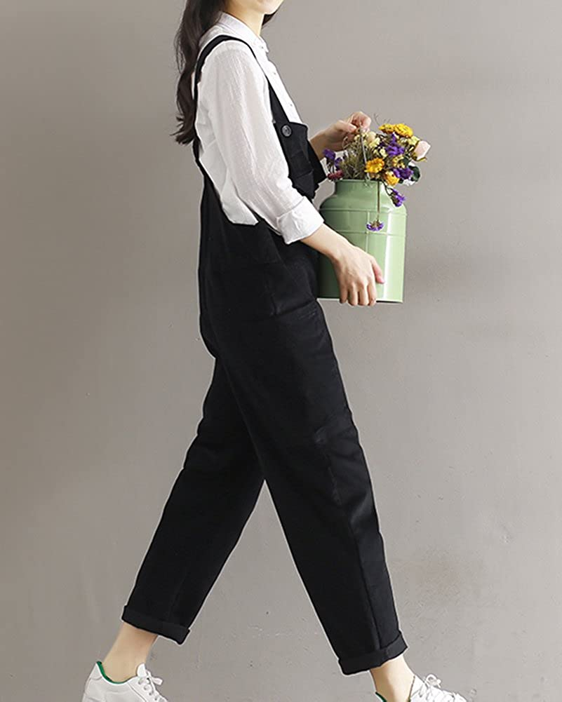 845244bbd02 LaoZanA Women Vintage Loose Jumpsuit Playsuit Ankle Cropped Trousers Baggy  Corduroy Dungarees Harem Pants  Amazon.co.uk  Clothing