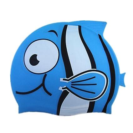 2b4f75566087 Cuffie Nuoto Silicone Bambino Asciugamano Capelli Turbante Elastica e  Adattabile Carina Forma di Pesce Pagliaccio Cuffia