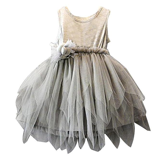 ❤️Elecenty Mädchen Prinzessin Kleid,Baby Tüllkleid Blumen Grau ...