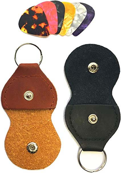 Guitar Picks Holder Case Leather Keychain Plectrum Key Fob Cases Bag Black and Brown Pack of 2