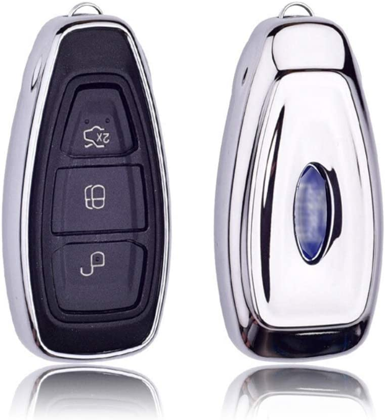 Remote Control Key Jacket with Key Chain 360 Degree Full Protection TPU Key Shell for Ford Mondeo Focus 3 MK3 ST Kuga Fiesta Escape Ecosport Titanium Blue ontto Smart Car Key Case Key Fob for Ford