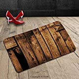 Custom Machine-washable Door Mat Farm House Decor by Vertical Striped Old Timber Backdrop in Dirt with Hole Ruins Abandoned Village Brown Indoor/Outdoor Doormat Mat Rug Carpet