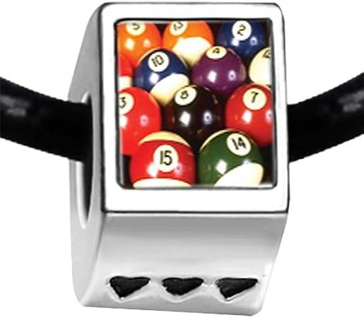 GiftJewelryShop chapado en plata de Juego de bolas de billar (Photo tres corazón cuentas pulseras: Amazon.es: Hogar