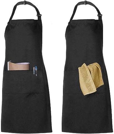 Apron Kitchen Bib Chef Restaurant Cooking Cover Home BBQ Women Men Pocket Black