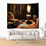 Nalahome Western Decor Mystic Night in Hotel Room Dallas with Lantern Nightstand Table and Poker Card Brown Ethnic Decorative Tapestry Blanket Wall Art Design Handicrafts 80W x 59L Inches