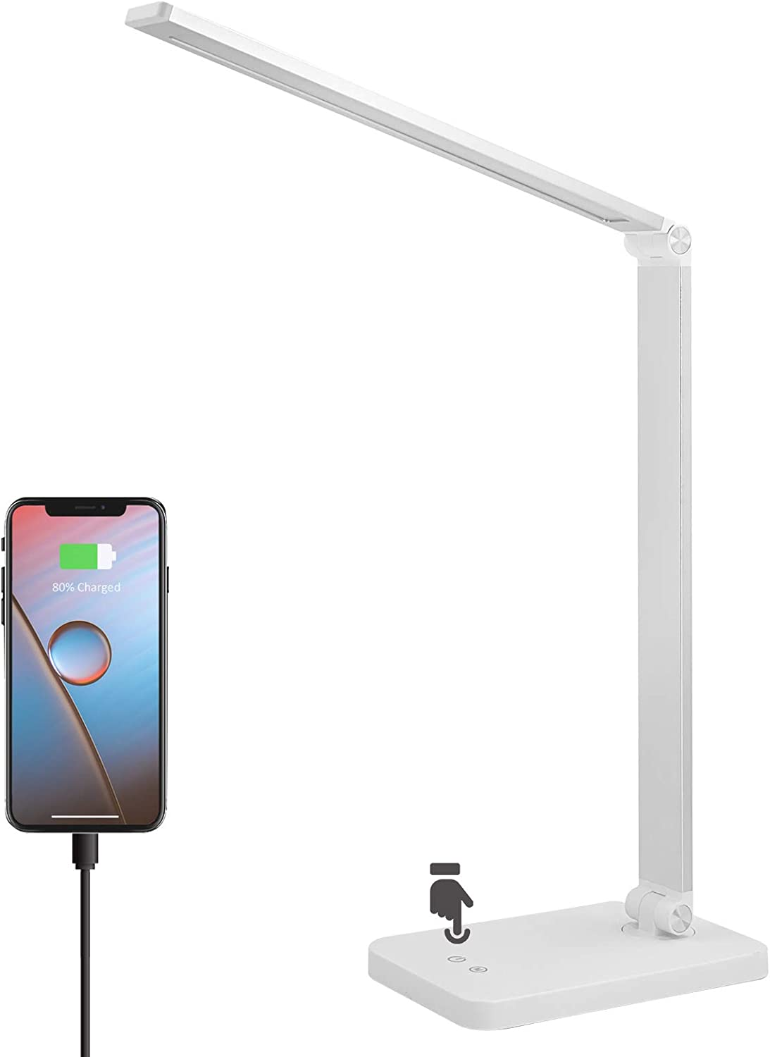 LED Desk Lamp, ZHUPIG Desk Lamp with USB Charging Port, Eye-Caring Desk Lamps for Home Office, 5 Lighting Modes & 3 Brightness Levels for Reading, Studying, Working (Adapter Included)