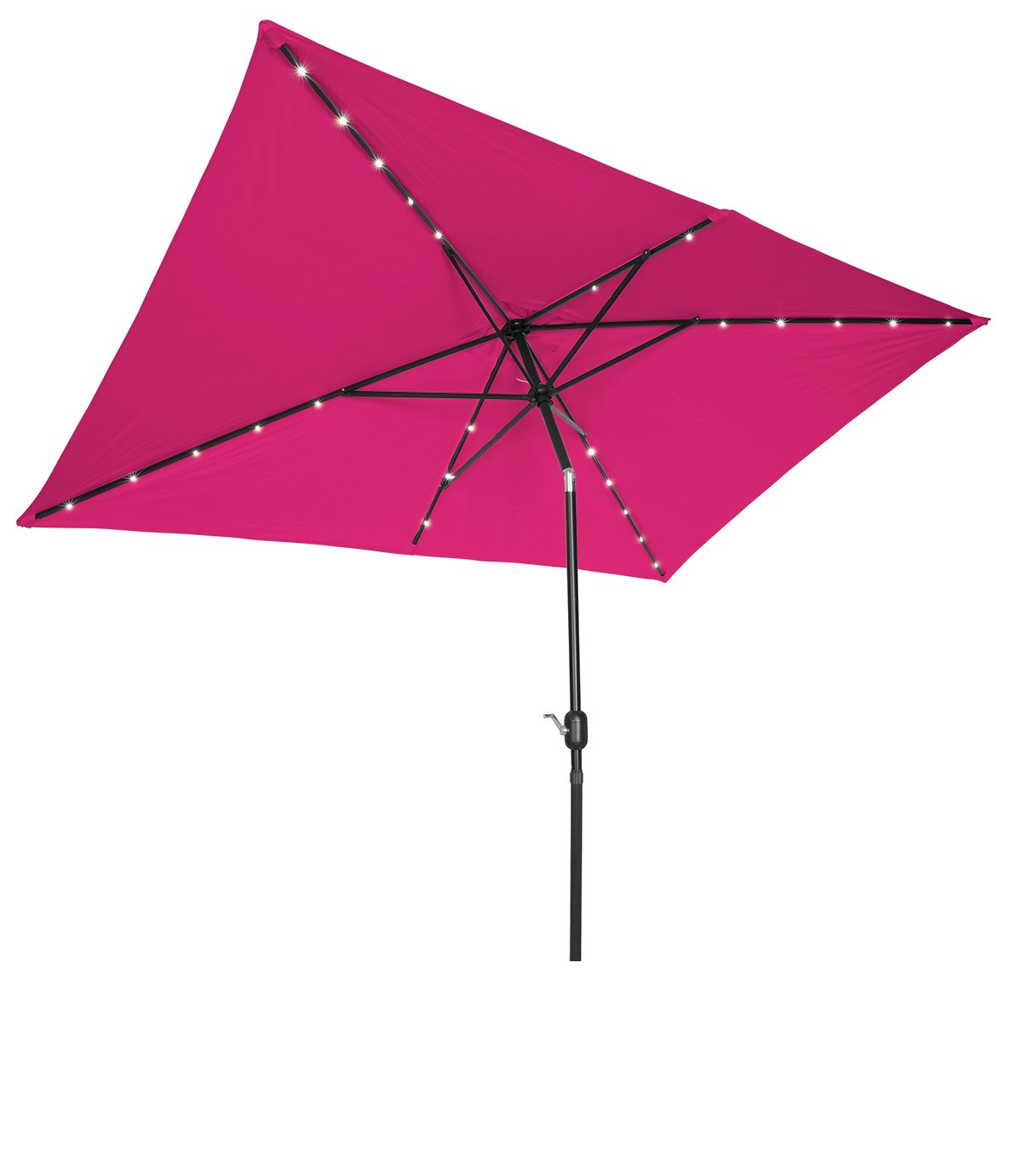 Trademark Innovations Rectangular Solar Powered LED Lighted Patio Umbrella – 10 x 6.5 Pink