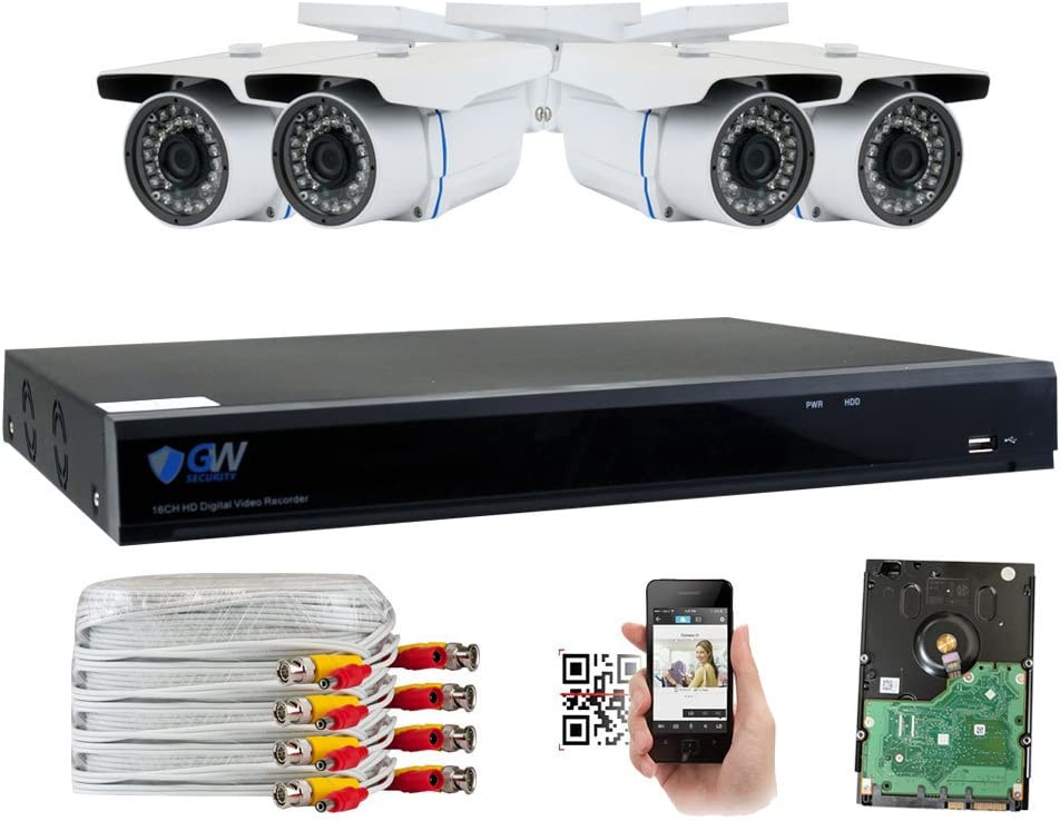 GW Security 8 Channel CCTV 5MP 2.5X 1080P Security Surveillance DVR System with 4 x Super 5.0MP HD 1920p 2592TVL Weatherproof Security Cameras,110ft IR Night Vision,2TB HDD