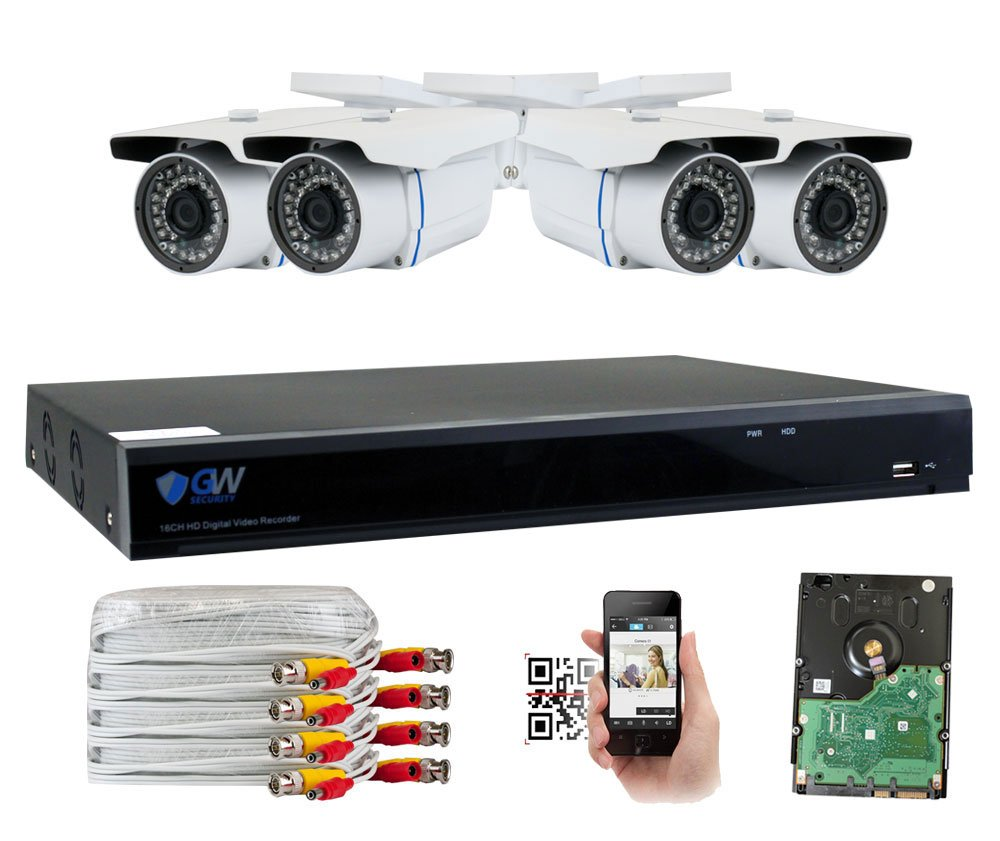 GW 8-Channel 4MP Home Security Camera System 5 IN 1 Video DVR and 4 4.0MP 1440P Outdoor Indoor Weatherproof CCTV Cameras with IR Night Vision