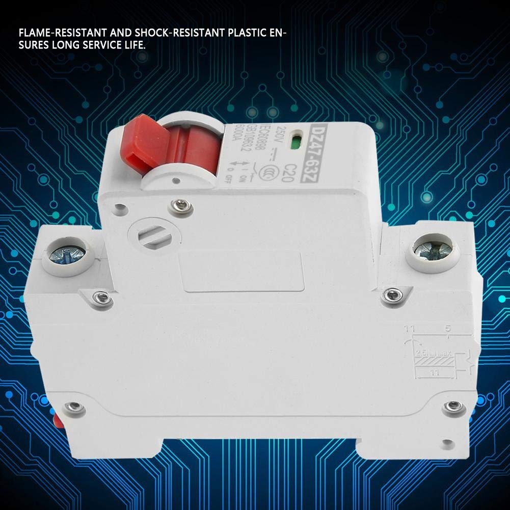 250V 20A DC Circuit Breaker,DZ47-63Z-1P 1P Solar Panels Photovoltaic System Electric Leakage Protection Air Cut Off Switch,for Bus Box Small Power Generation System DC Systems