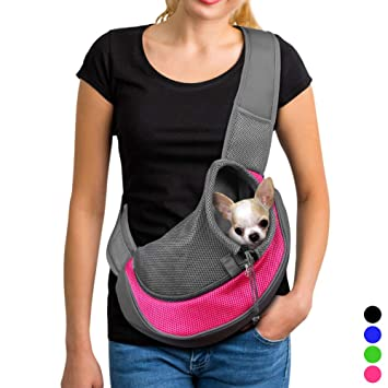 59d232f8692b YUDODO Pet Dog Sling Carrier Breathable Mesh Travel Safe Sling Bag Carrier  for Dogs Cats
