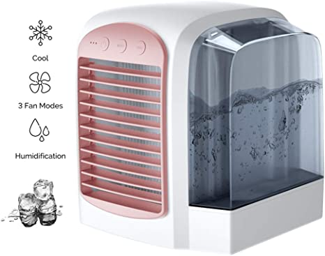 HHH Mini Enfriador Climatizador Purificador de Aire Humidificador y Purificador Aire Acondicionado Desmontable Portátil con Tanque de Agua de 380 ml y Luz Nocturna para Enfriar,Pink: Amazon.es: Deportes y aire libre