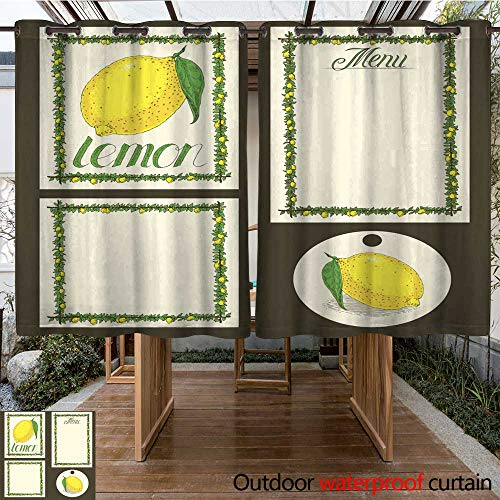 - RenteriaDecor Home Patio Outdoor Curtain Lemon Menu Pages Card and Tag Design Set W84 x L72