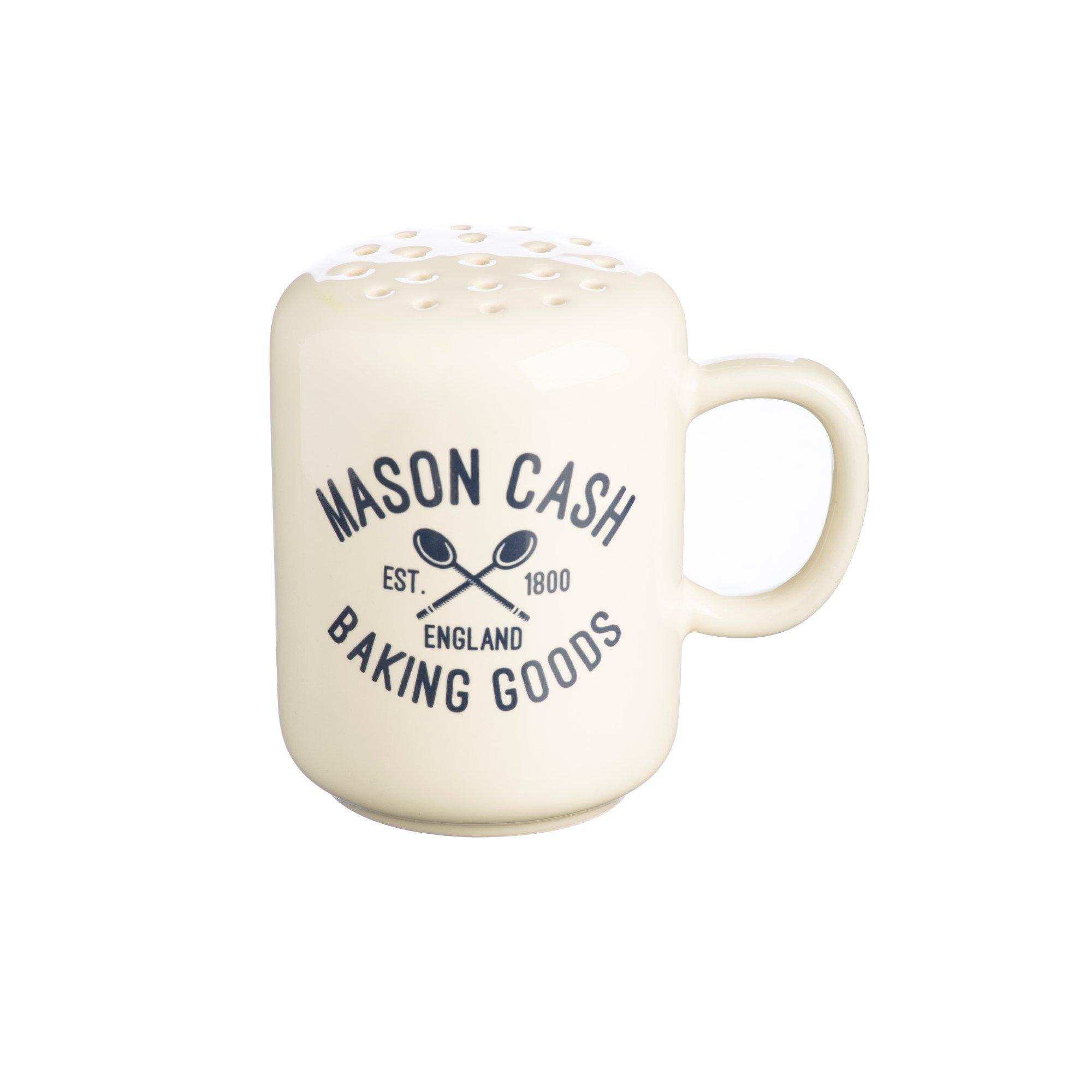 Mason Cash Varsity Ceramic Flour Shaker, 4-Ounces, Cream, Navy Blue