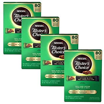 Nescafé Taster's Choice Decaf House Blend Instant Coffee Packets, Mild  Roasted, 80 Count - 4 pack