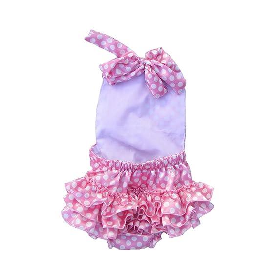 51ef7eea2702 Amazon.com  Lisianthus Baby Girls  Ruffles Romper Dress Summer Clothing   Clothing
