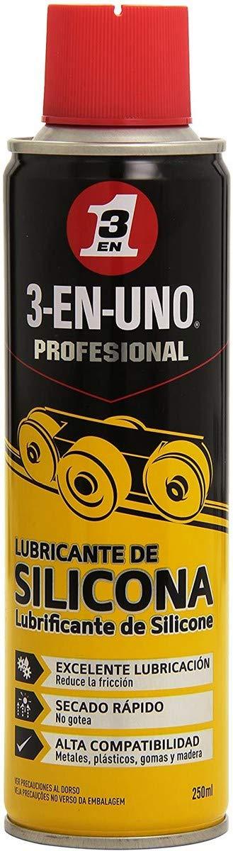 3 EN UNO 34468 Spray lubricante de silicona (250 ml), Amarillo/Negro, 250ml