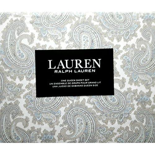 New Lauren Ralph Lauren 4 Piece Queen Sheet Set Bleige and Blue Paisley on Off White supplier