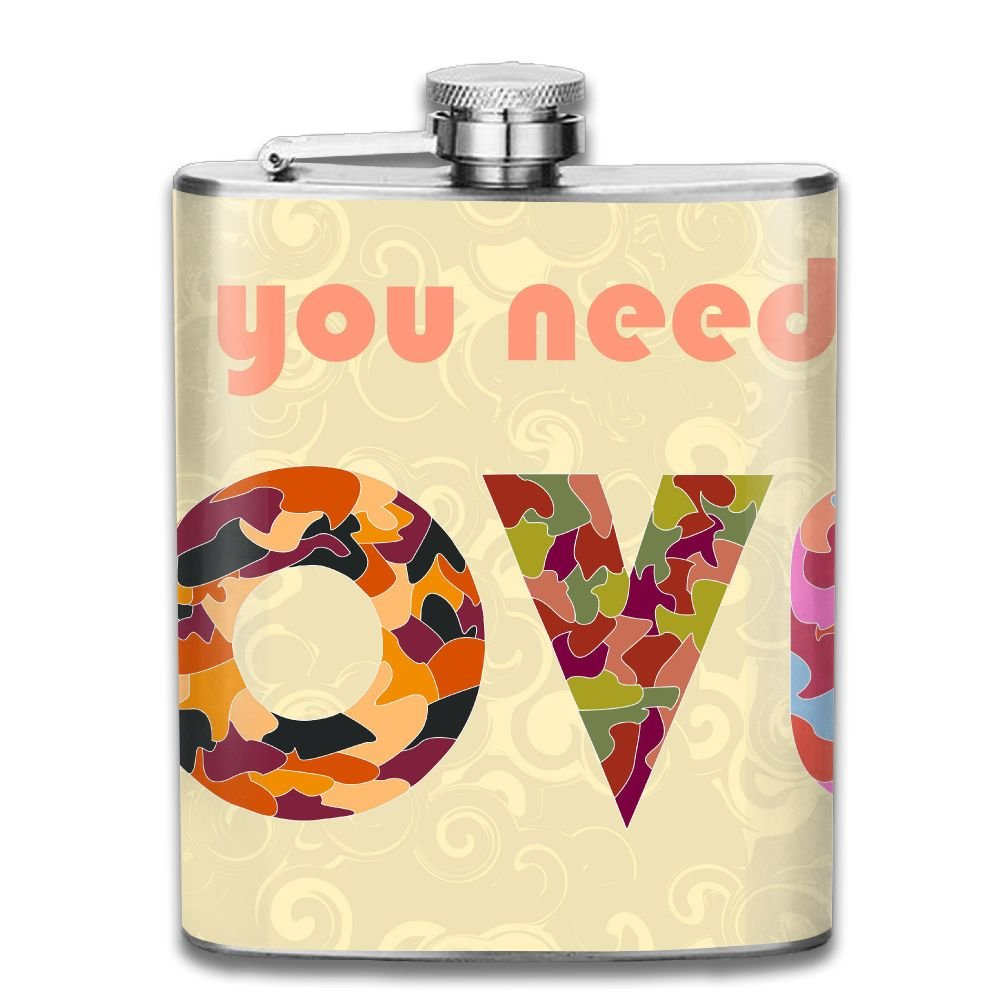 WUGOU Stainless Steel Hip Flask 7 Oz (No Funnel) All You Need Is Love Full Printed by WUGOU