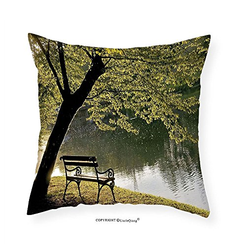 Side Deco Ring (VROSELV Custom Cotton Linen Pillowcase Farm House Decor Bench under Timber Tree by Riverside Epic Countryside Rural Relaxing Resting Space Scenery Bedroom Living Room Dorm Decor Green 12