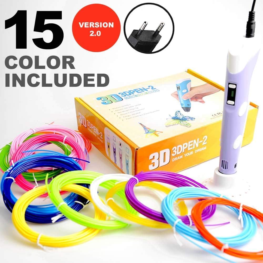 compatible con filamento PLA y ABS de 1.75mm Bol/ígrafo L/ápiz impresi/ón 3D ajuste de velocidad Pen 3D versi/ón 2.0 Pantalla LCD Incluido 15 rollos filamento de colores de 3 metros