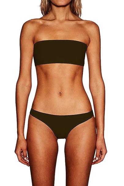 fe36f23a30 chicolife Womens Sexy Strapless Bandeau High Waisted Bikinis Thong Set 3  Pieces Padded Swimsuit Swimwear Beachwear: Amazon.co.uk: Clothing