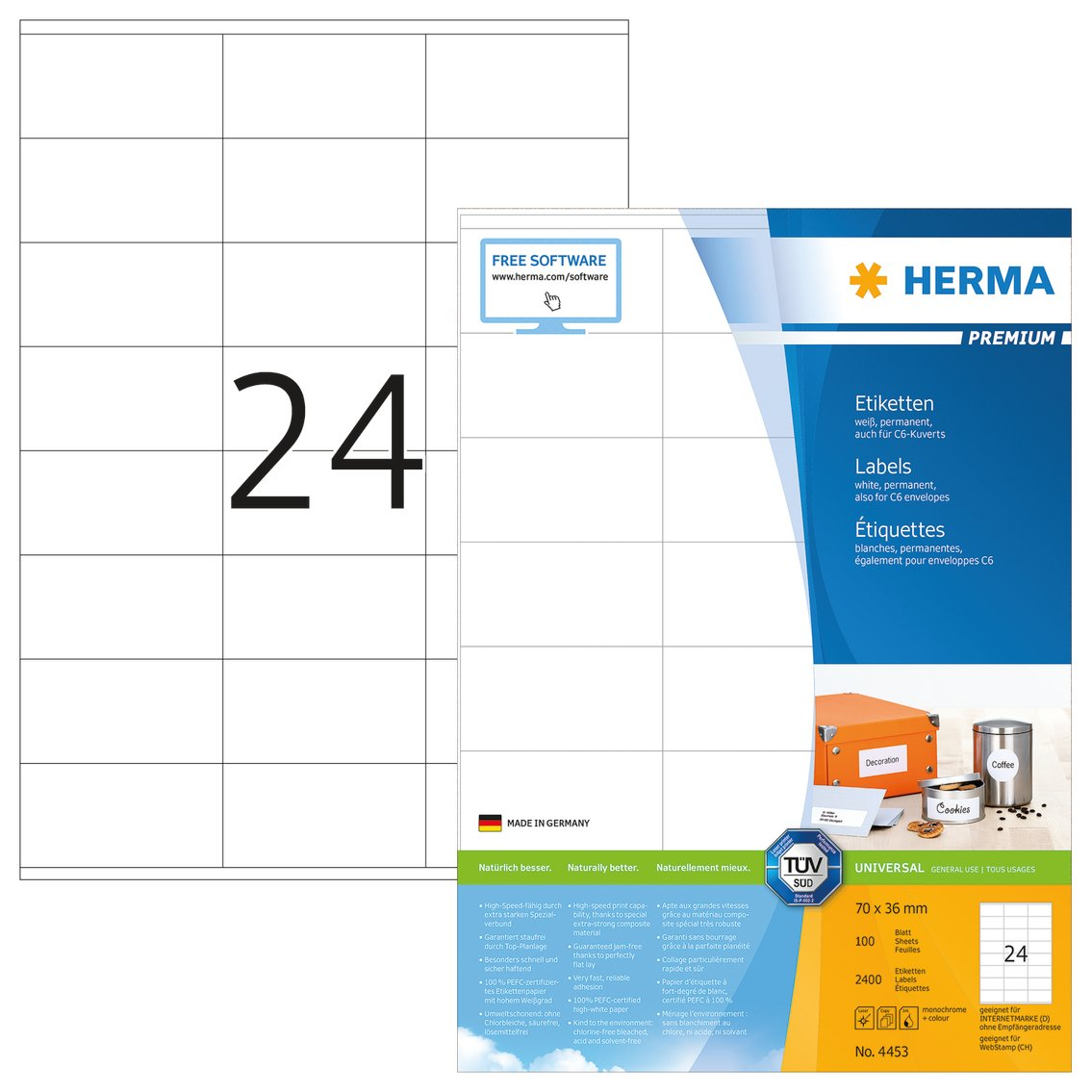 HERMA Universal Etichette Recycling, 70 x 36 mm 10823