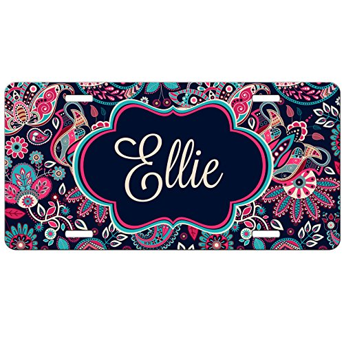 Simply Customized Personalized License Plate Monogram Floral Pink Turquoise Paisley License Plate Car Auto Tag Aluminum PLP