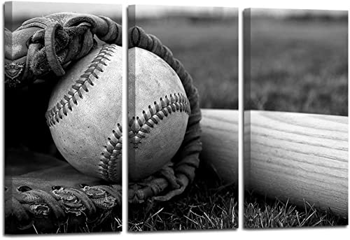 HOMEOART Baseball Picture Sports Themed Baseball Wall Art Print On Canvas Boys Bedroom Decoration Black and White Stretched Framed Artwork 16x32inchx3Panel