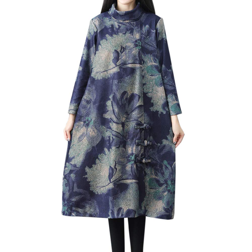iDWZA Fashion Women Winter Loose Long Sleeve Vintage Floral Print Button Long Maxi Dress(Blue,US S/CN M)