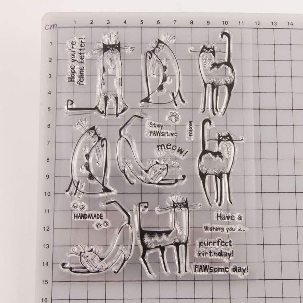 fai da te per album di ritagli Timbro in silicone trasparente a forma di gatto decorazioni artistiche Runrain